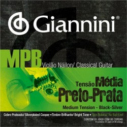 ENCORDOAMENTO GIANNINI MPB NYLON PRETO PRATA TENSAO  MEDIA
